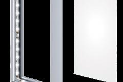 Kaseton reklamowy podświetlany dwustronny z licem tekstylnym budowa