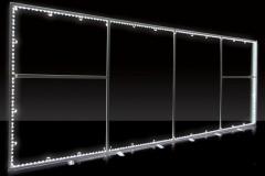 Kaseton reklamowy podświetlany dwustronny z licem tekstylnym budowa oświetlenie krawędziowe LED