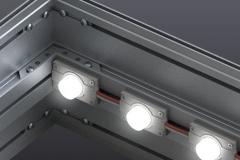 Kaseton reklamowy podświetlany dwustronny z licem tekstylnym oświetlenie moduły krawędziowe LED