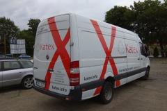 Reklama na busie vanie firmowym. Firma Katex w Kruszynie
