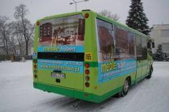 Reklama na autobusie komunikacji miejskiej dla sklepu Hubert z Bolesławca