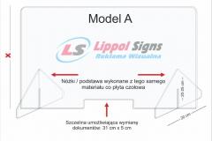 Osłona standardowa z plexi na ladę biurko model_A