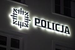 Logotyp przestrzenny 3D LED podświetlany efekt HALO. PCV 20 mm malowany natryskowo. Policja w Lubaniu Śląskim