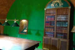 Biblioteka z atrapami ksiegozbioru. Pomieszczenia klubowe Zamek Kliczków