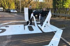 Szablon do malowania poziomego oznakowania drogowego